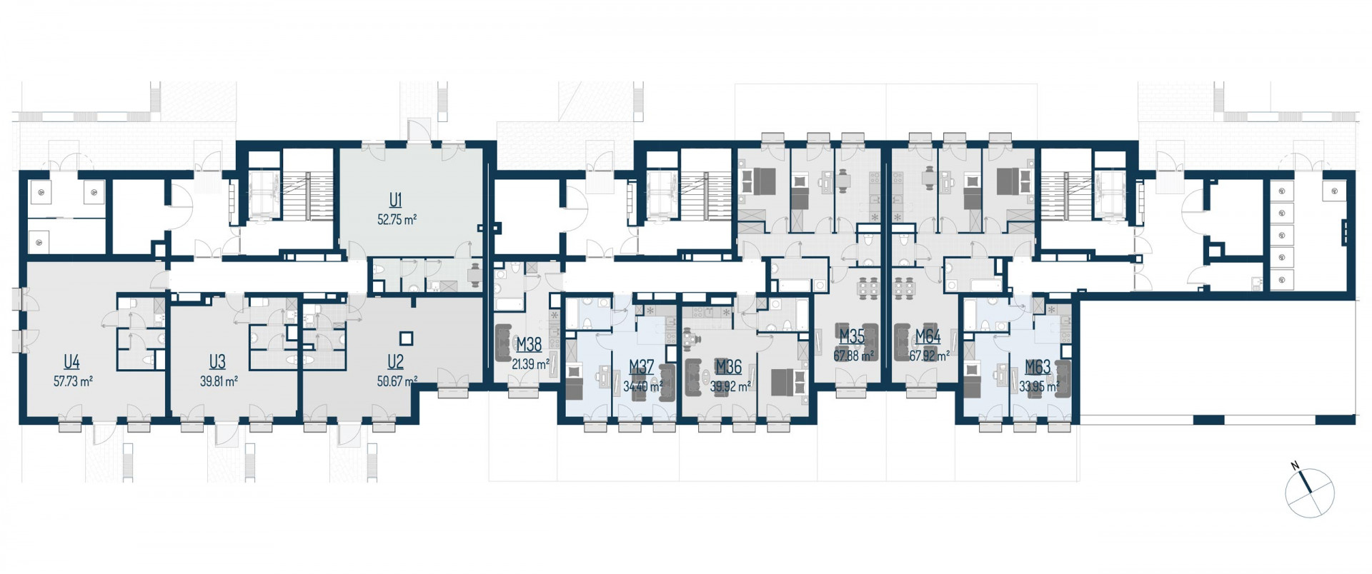 Zdrowe Stylove / budynek 1 / mieszkanie nr U3 rzut 2