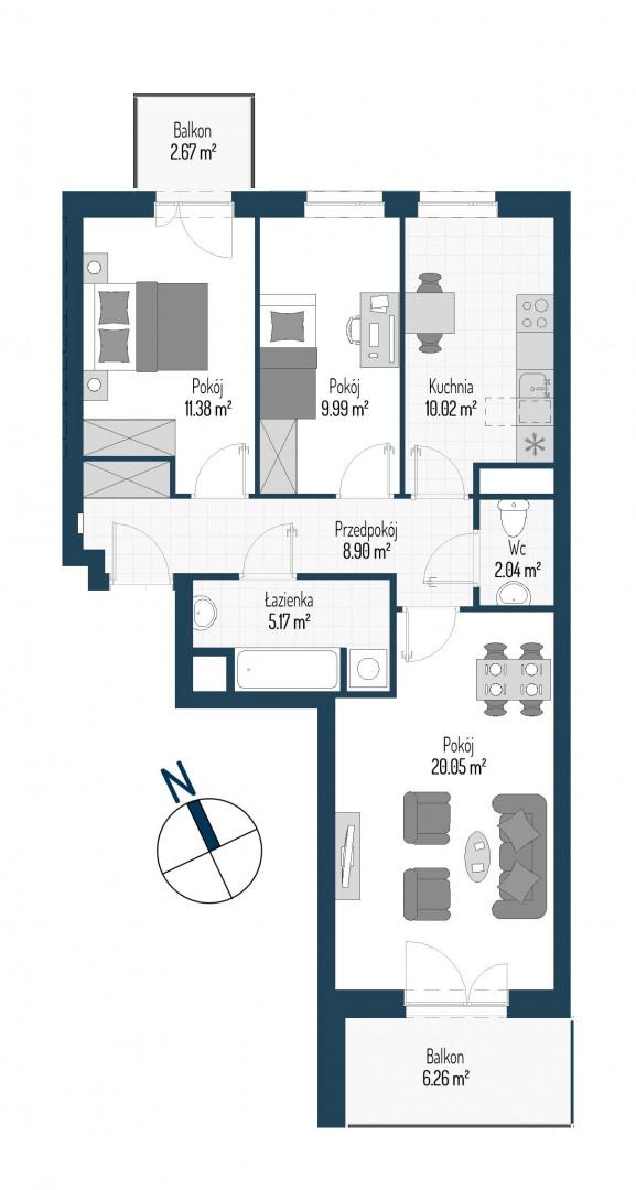 Zdrowe Stylove / budynek 1 / mieszkanie nr M5 rzut 1