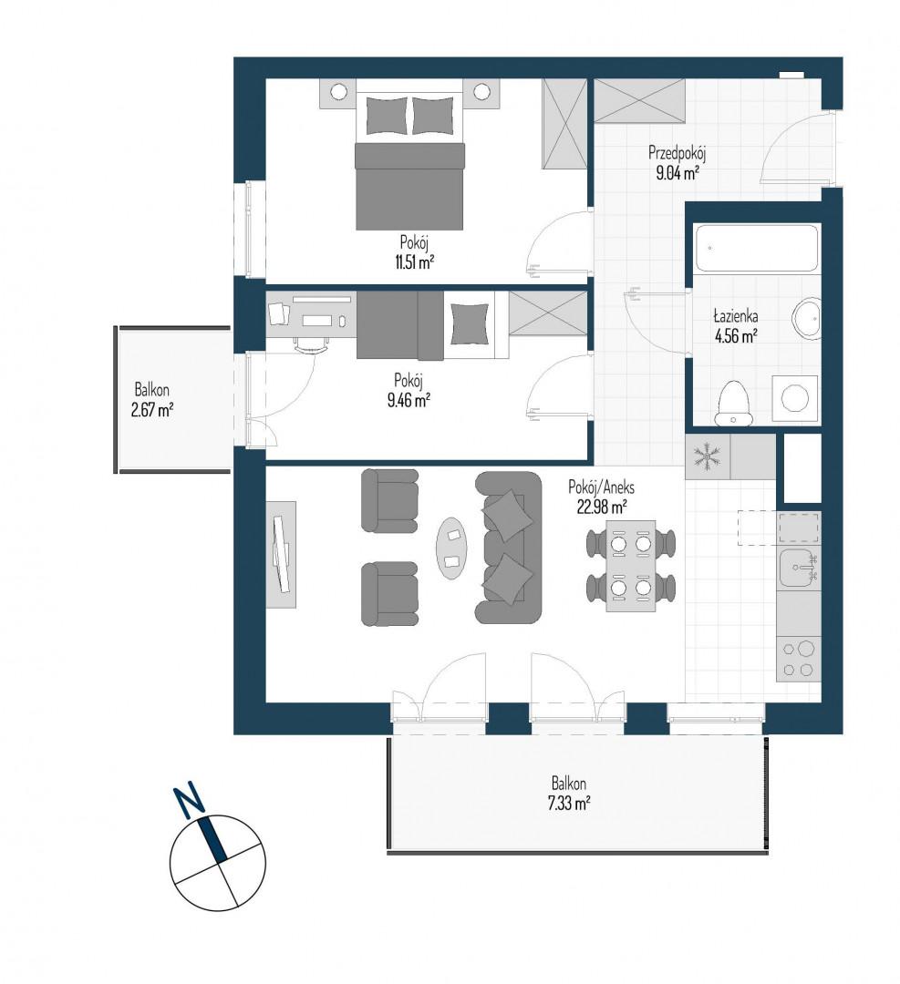 Zdrowe Stylove / budynek 1 / mieszkanie nr M8 rzut 1