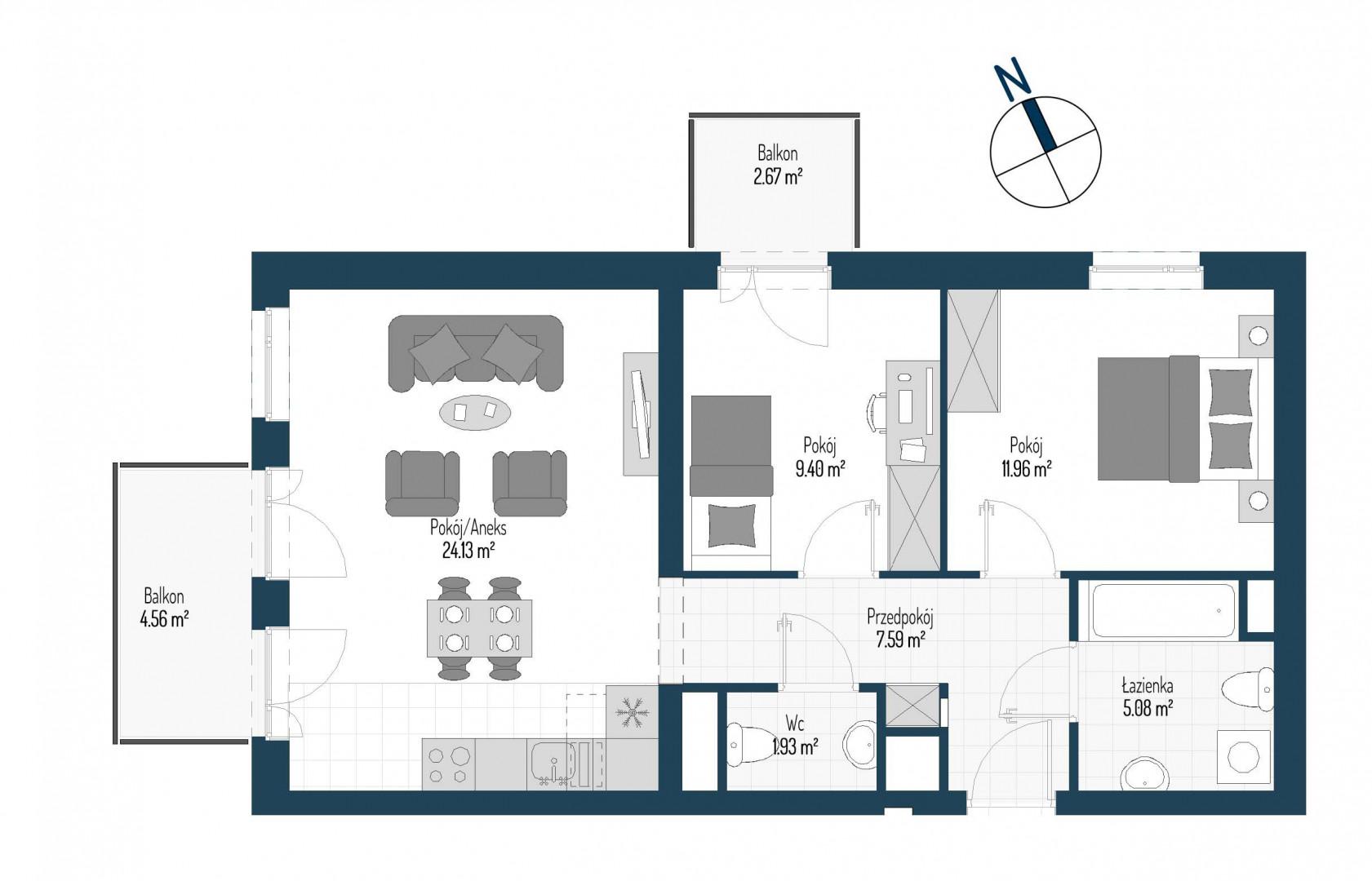 Zdrowe Stylove / budynek 1 / mieszkanie nr M19 rzut 1
