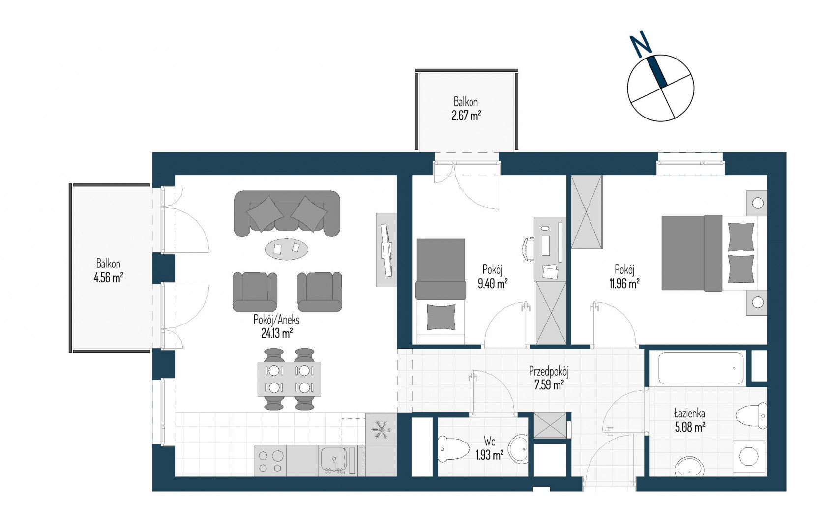 Zdrowe Stylove / budynek 1 / mieszkanie nr M24 rzut 1