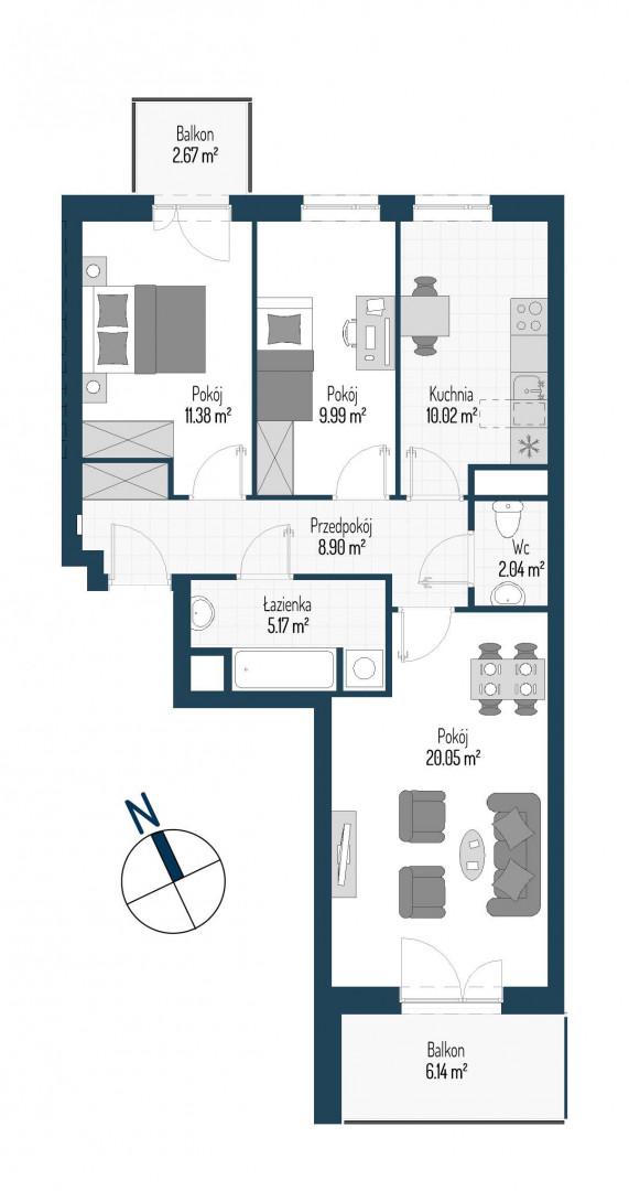 Zdrowe Stylove / budynek 1 / mieszkanie nr M25 rzut 1