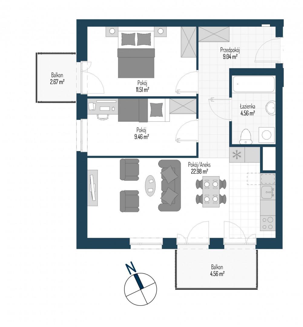 Zdrowe Stylove / budynek 1 / mieszkanie nr M33 rzut 1