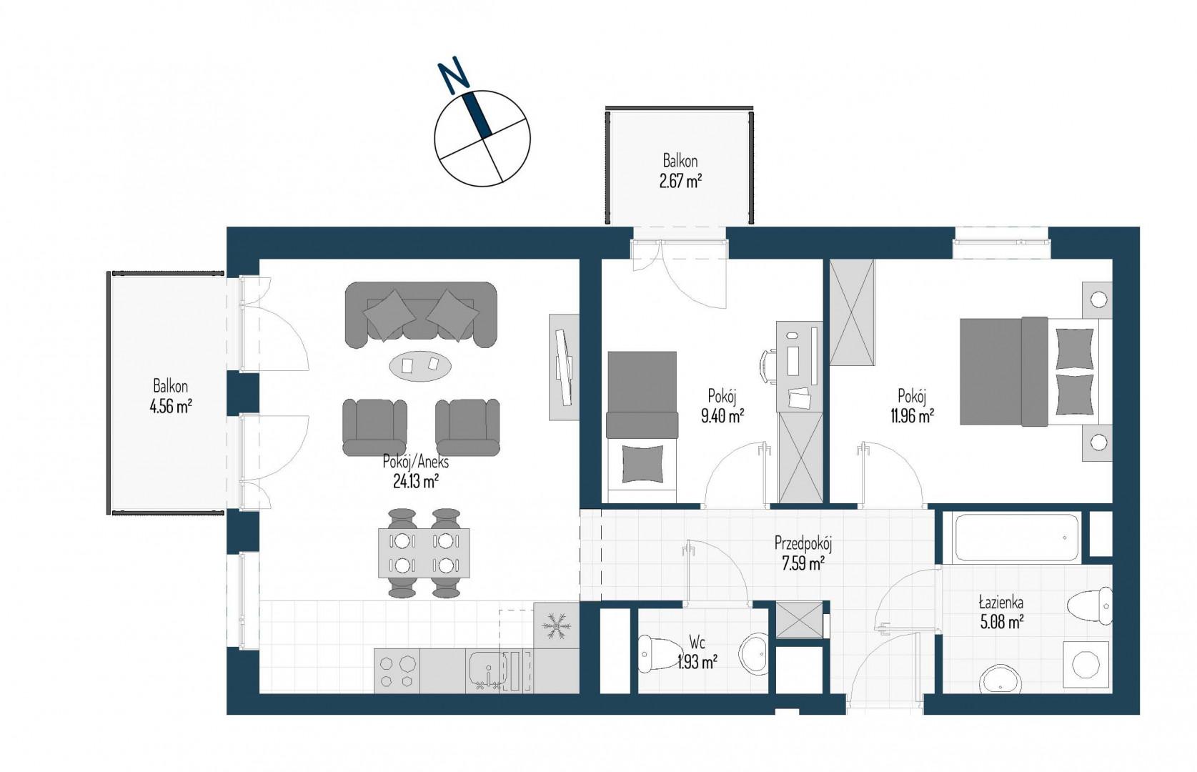 Zdrowe Stylove / budynek 1 / mieszkanie nr M34 rzut 1