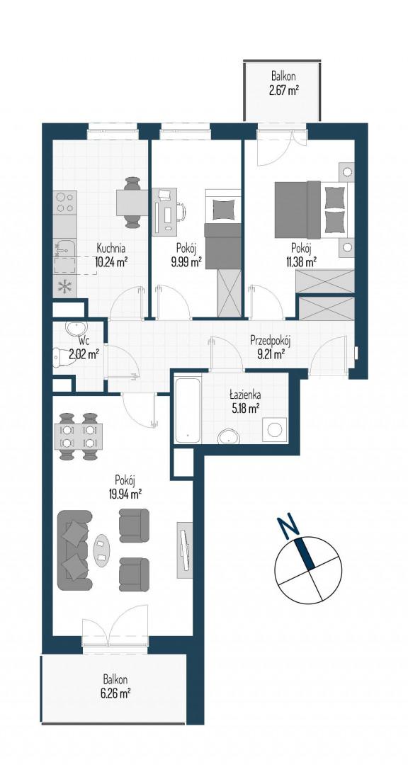 Zdrowe Stylove / budynek 1 / mieszkanie nr M42 rzut 1