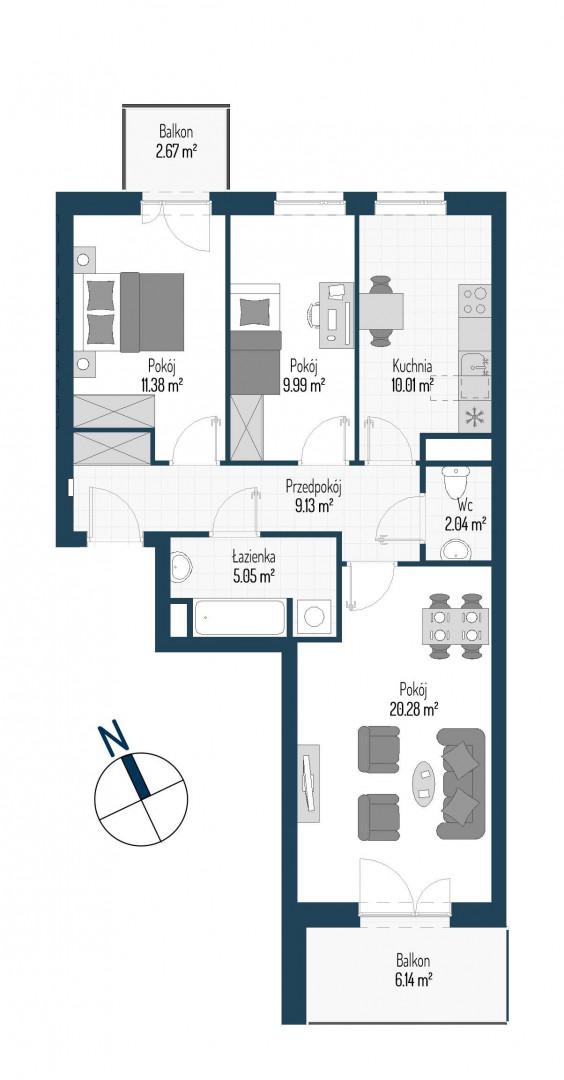 Zdrowe Stylove / budynek 1 / mieszkanie nr M47 rzut 1