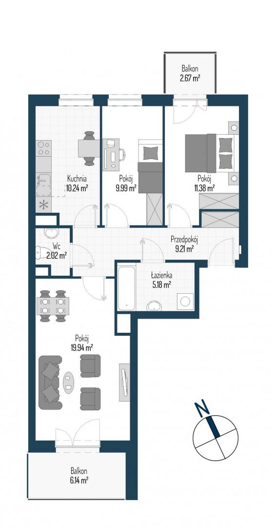 Zdrowe Stylove / budynek 1 / mieszkanie nr M50 rzut 1