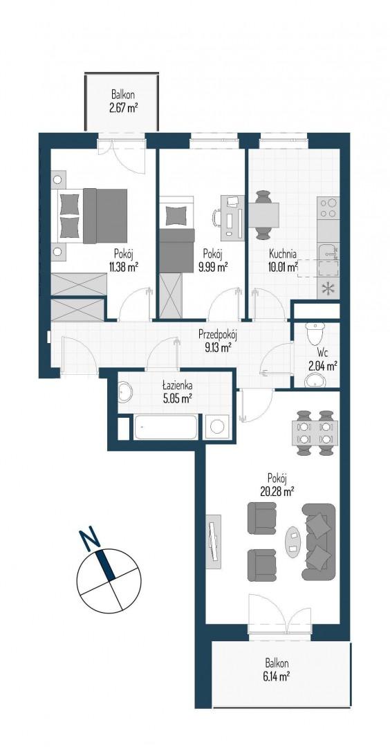 Zdrowe Stylove / budynek 1 / mieszkanie nr M51 rzut 1
