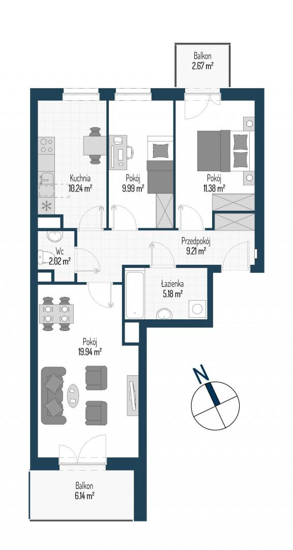 Zdrowe Stylove / budynek 1 / mieszkanie nr M54 rzut 1