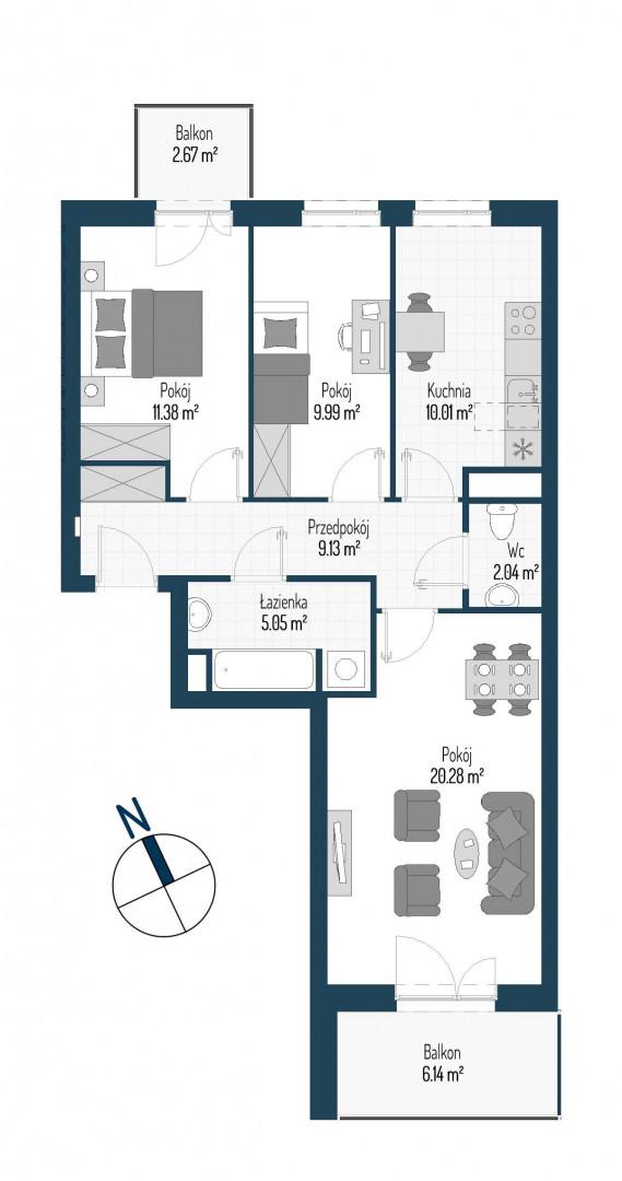 Zdrowe Stylove / budynek 1 / mieszkanie nr M55 rzut 1