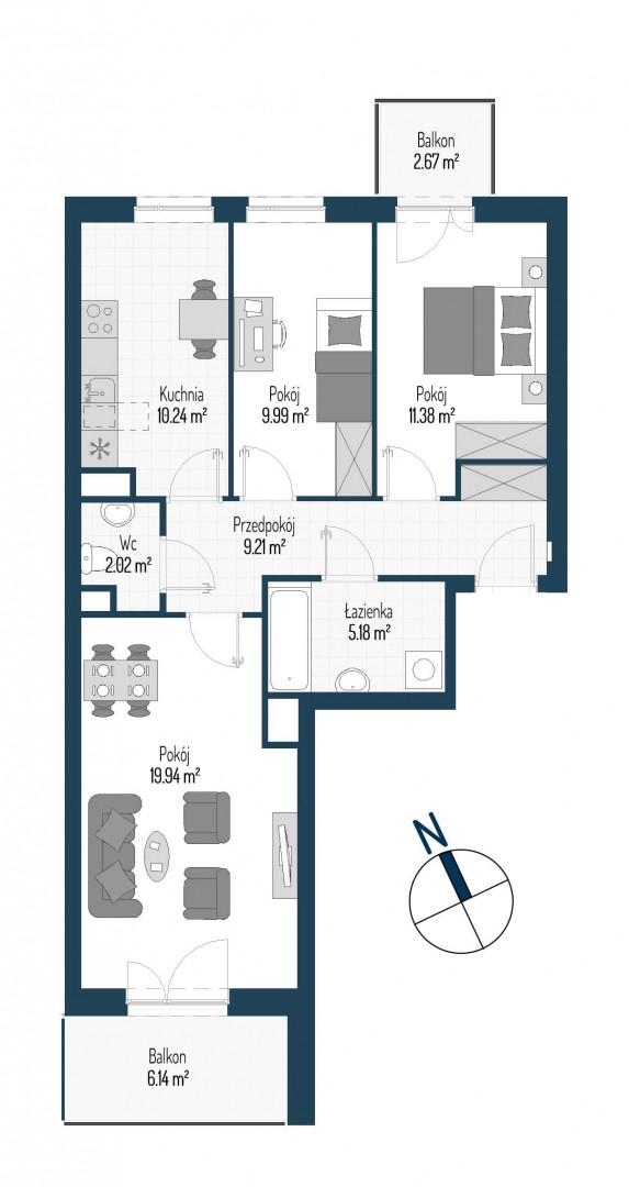 Zdrowe Stylove / budynek 1 / mieszkanie nr M58 rzut 1