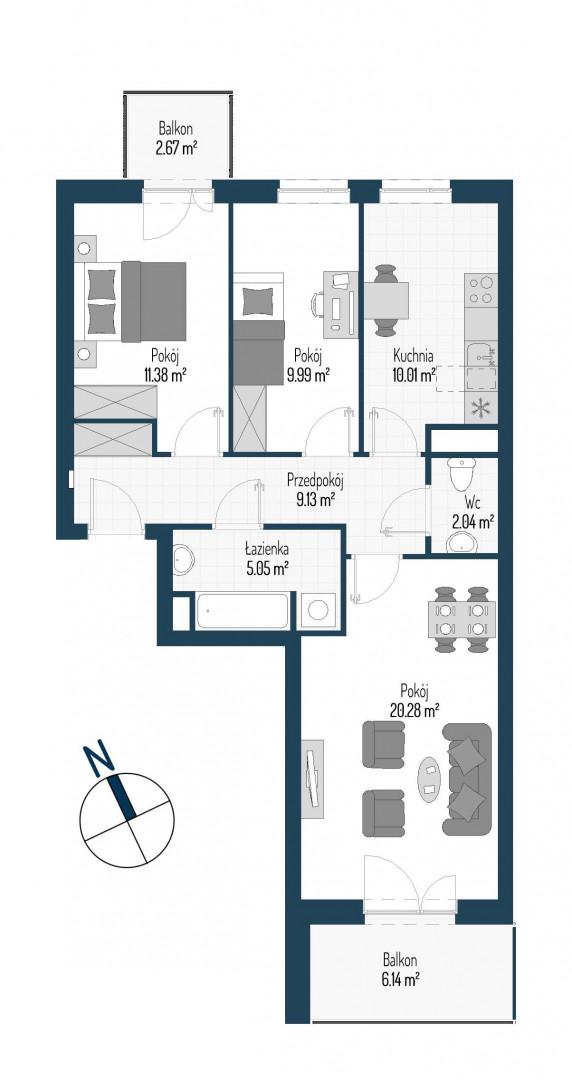 Zdrowe Stylove / budynek 1 / mieszkanie nr M59 rzut 1