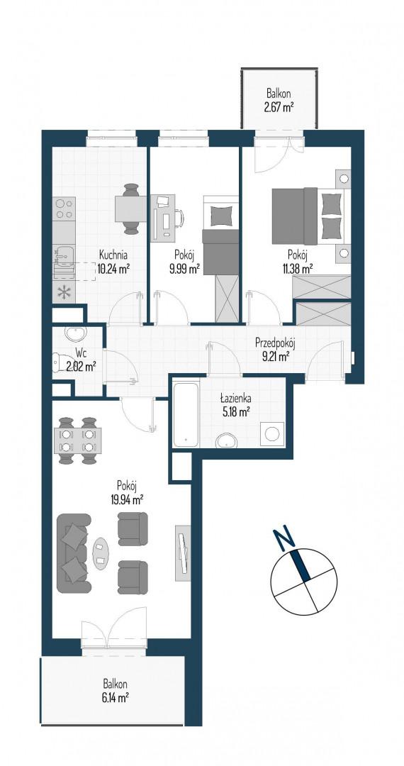Zdrowe Stylove / budynek 1 / mieszkanie nr M62 rzut 1