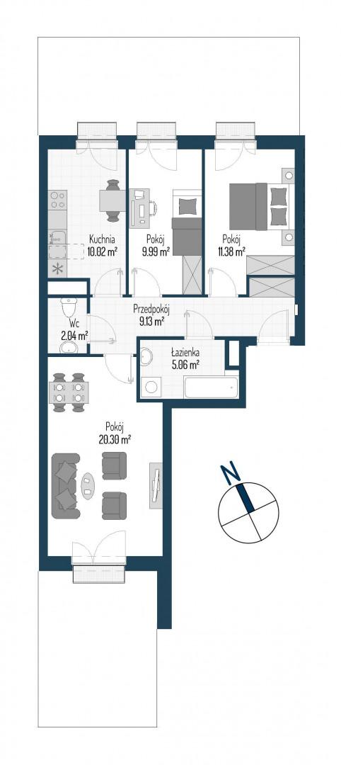 Zdrowe Stylove / budynek 1 / mieszkanie nr M64 rzut 1