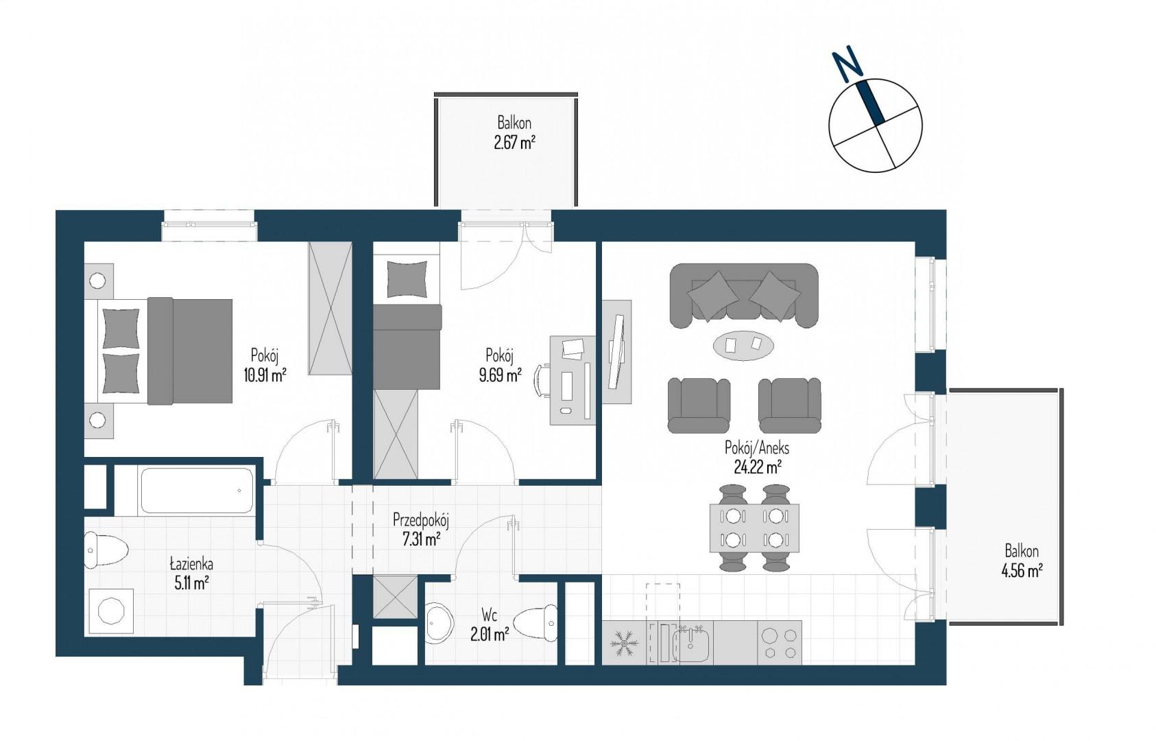 Zdrowe Stylove / budynek 1 / mieszkanie nr M65 rzut 1