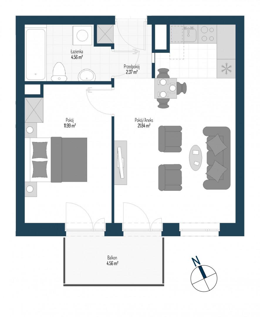 Zdrowe Stylove / budynek 1 / mieszkanie nr M67 rzut 1