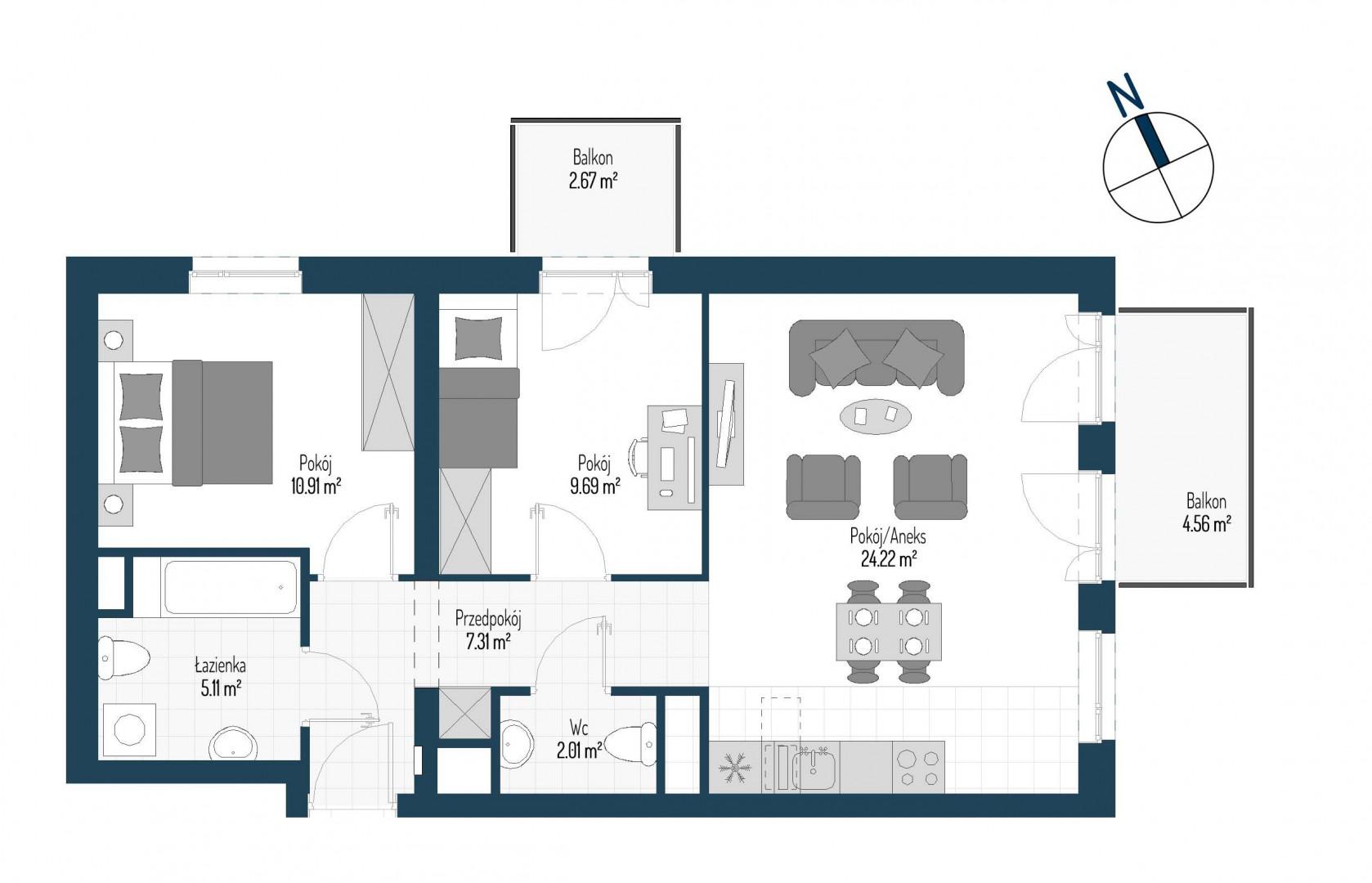 Zdrowe Stylove / budynek 1 / mieszkanie nr M70 rzut 1