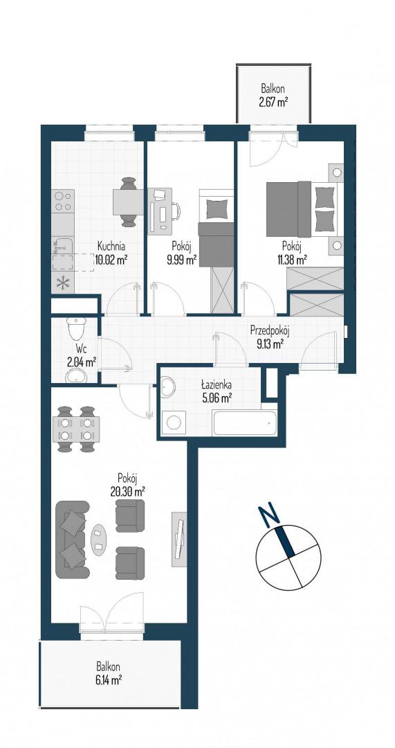 Zdrowe Stylove / budynek 1 / mieszkanie nr M74 rzut 1