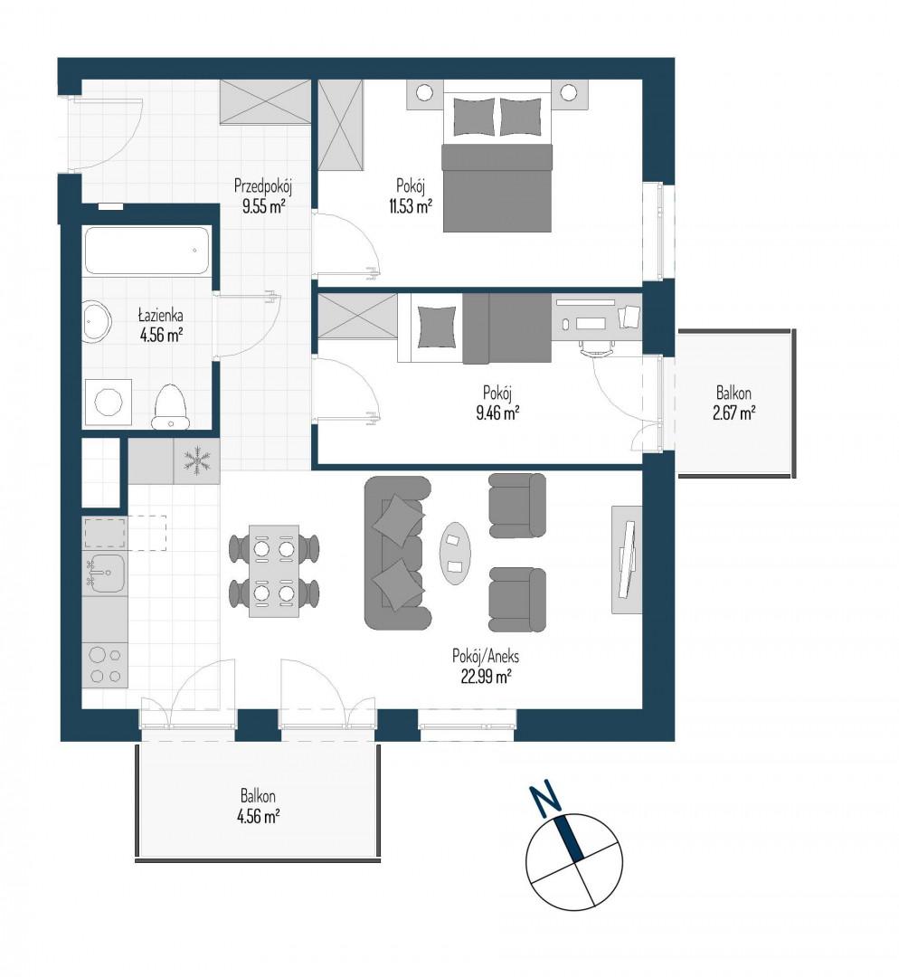 Zdrowe Stylove / budynek 1 / mieszkanie nr M76 rzut 1