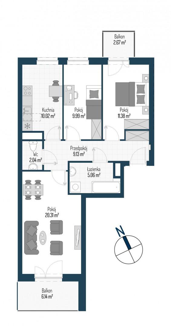 Zdrowe Stylove / budynek 1 / mieszkanie nr M79 rzut 1