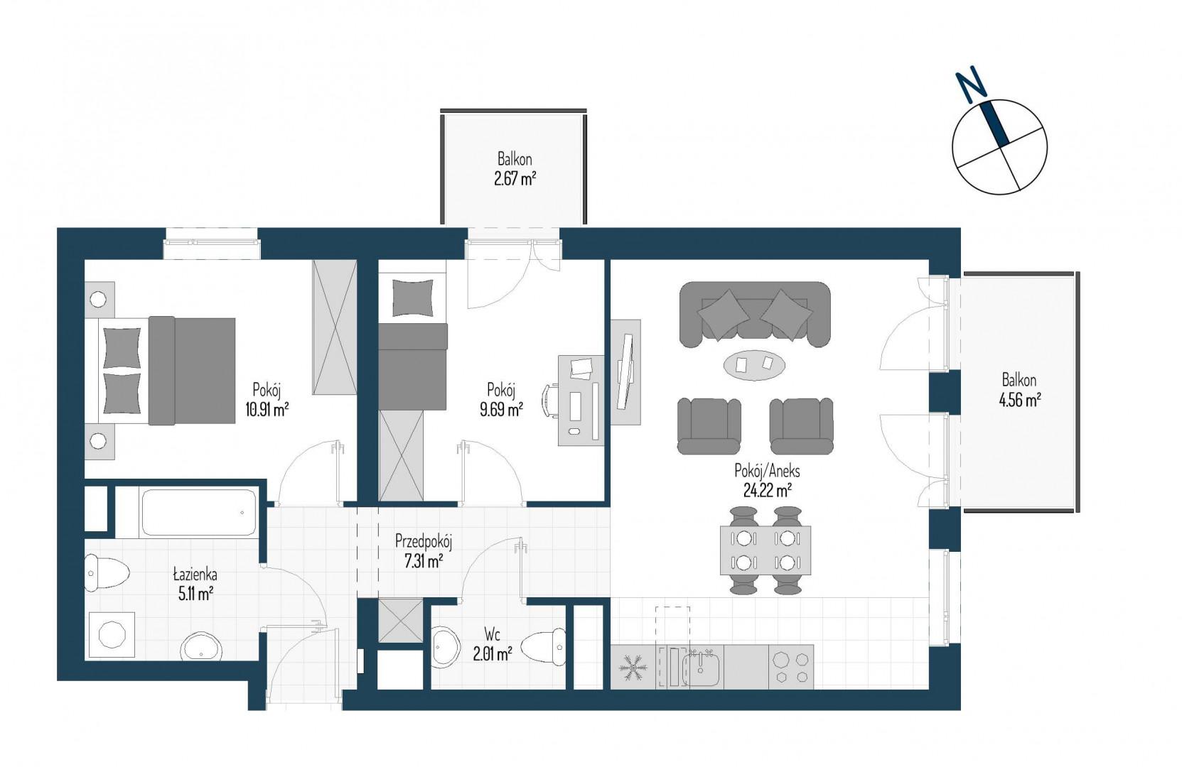 Zdrowe Stylove / budynek 1 / mieszkanie nr M80 rzut 1