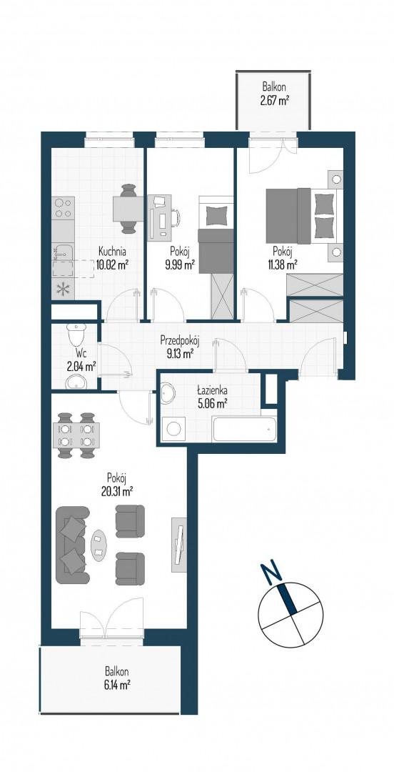 Zdrowe Stylove / budynek 1 / mieszkanie nr M84 rzut 1