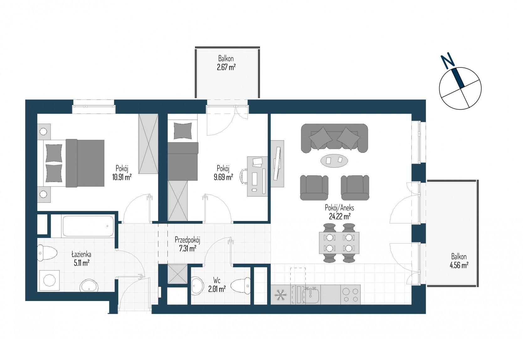 Zdrowe Stylove / budynek 1 / mieszkanie nr M85 rzut 1