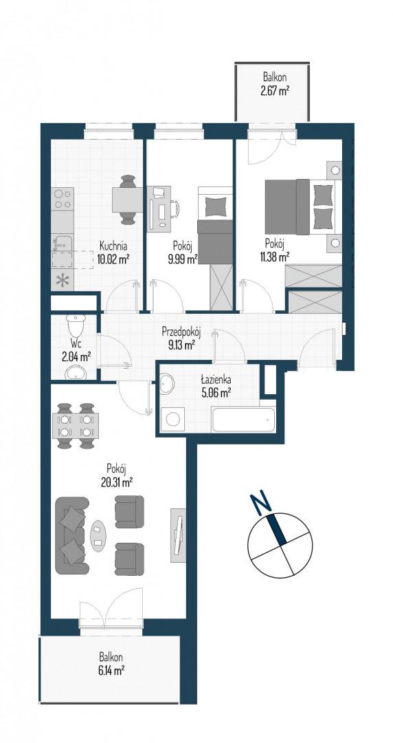 Zdrowe Stylove / budynek 1 / mieszkanie nr M89 rzut 1