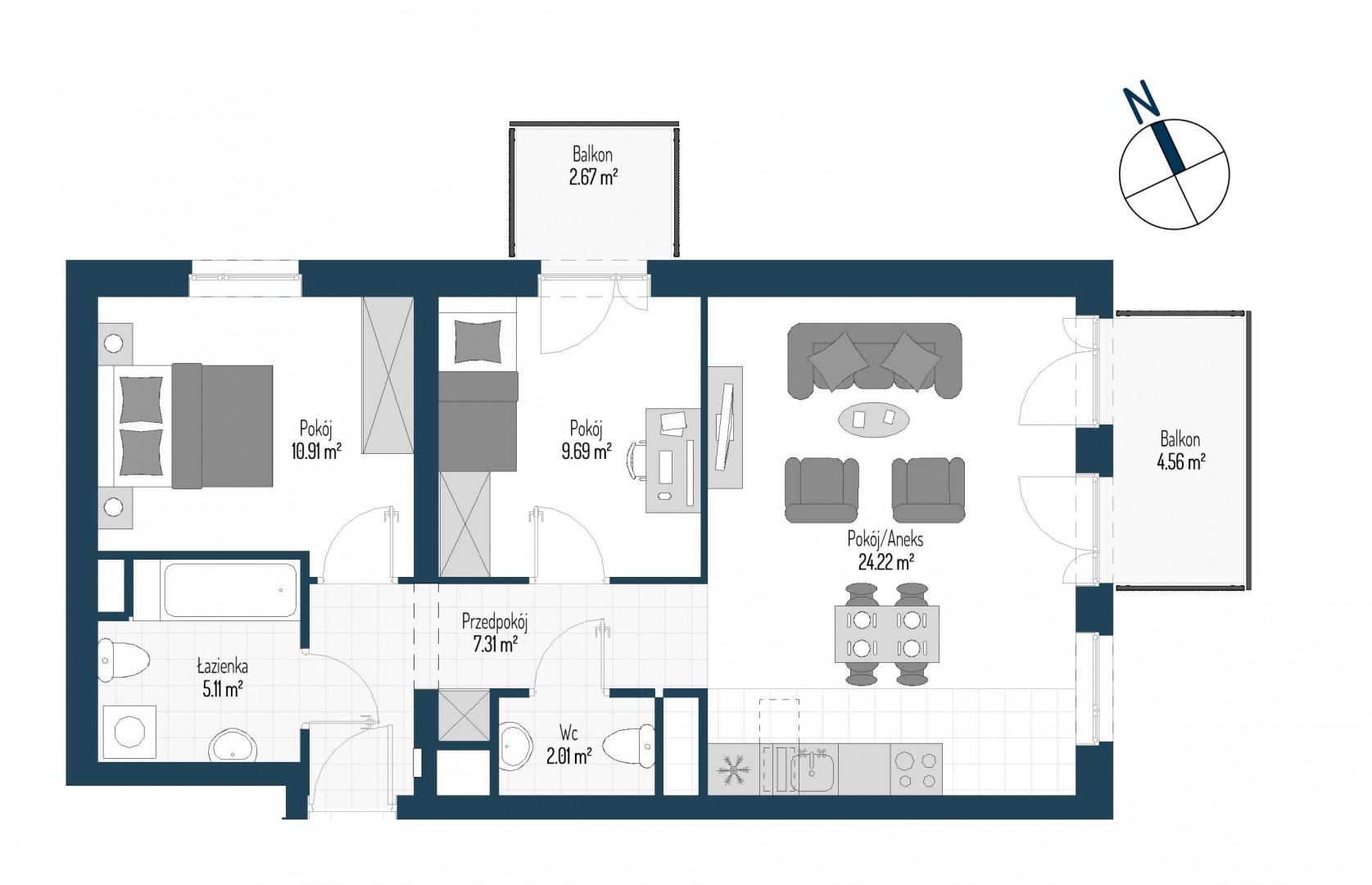 Zdrowe Stylove / budynek 1 / mieszkanie nr M90 rzut 1