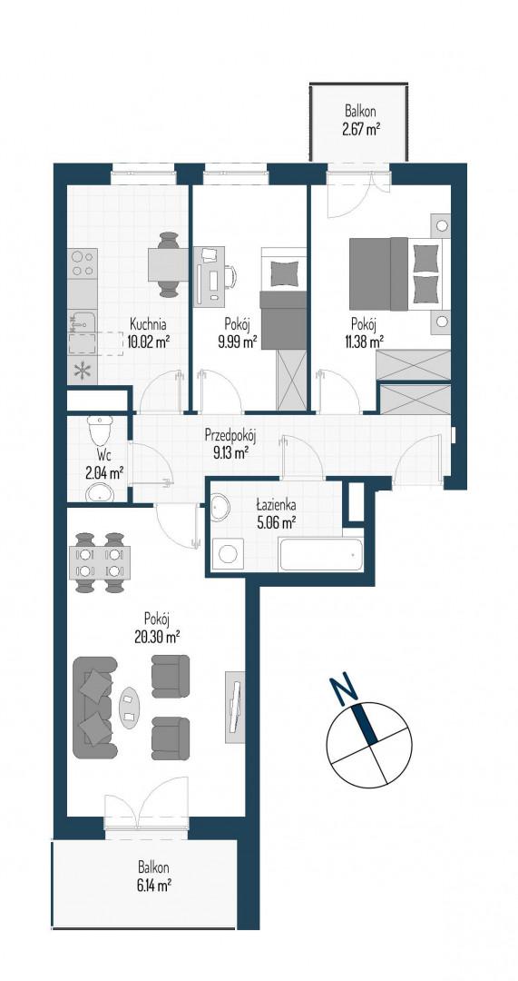 Zdrowe Stylove / budynek 1 / mieszkanie nr M94 rzut 1