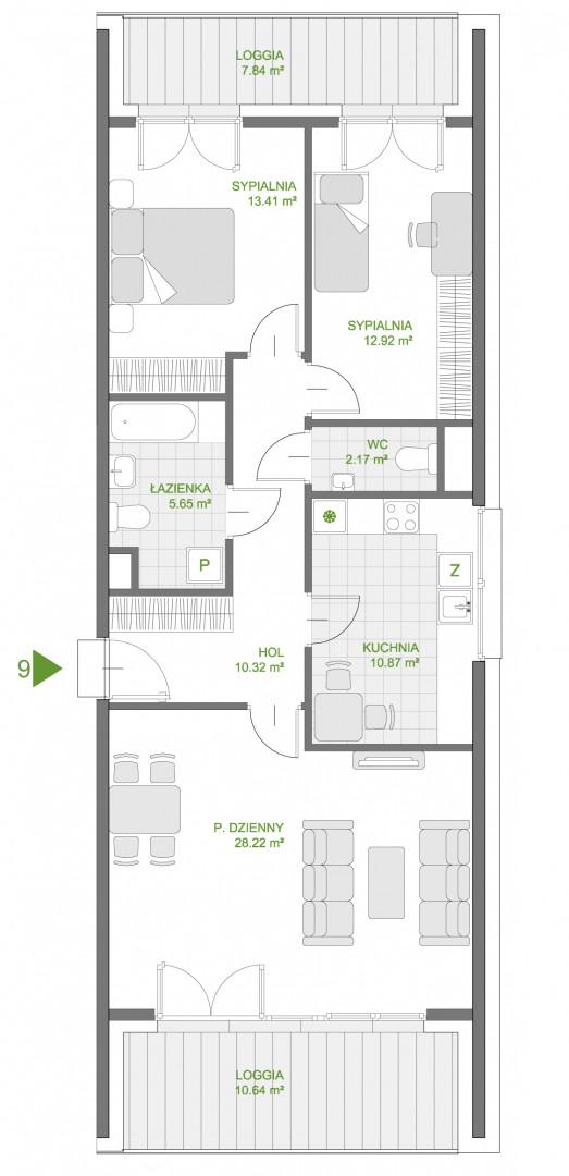 Mazowiecka 72 / apartament nr 9 rzut 1