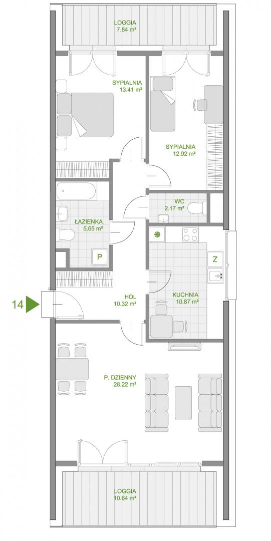 Mazowiecka 72 / apartament nr 14 rzut 1