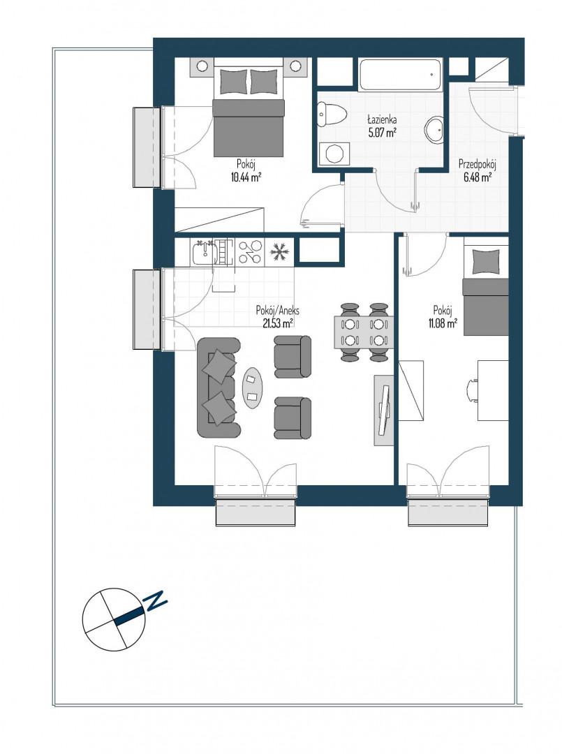 Zdrowe Stylove / budynek 2 / mieszkanie nr 3 rzut 1