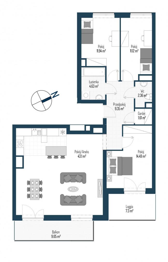Zdrowe Stylove / budynek 2 / mieszkanie nr 4 rzut 1