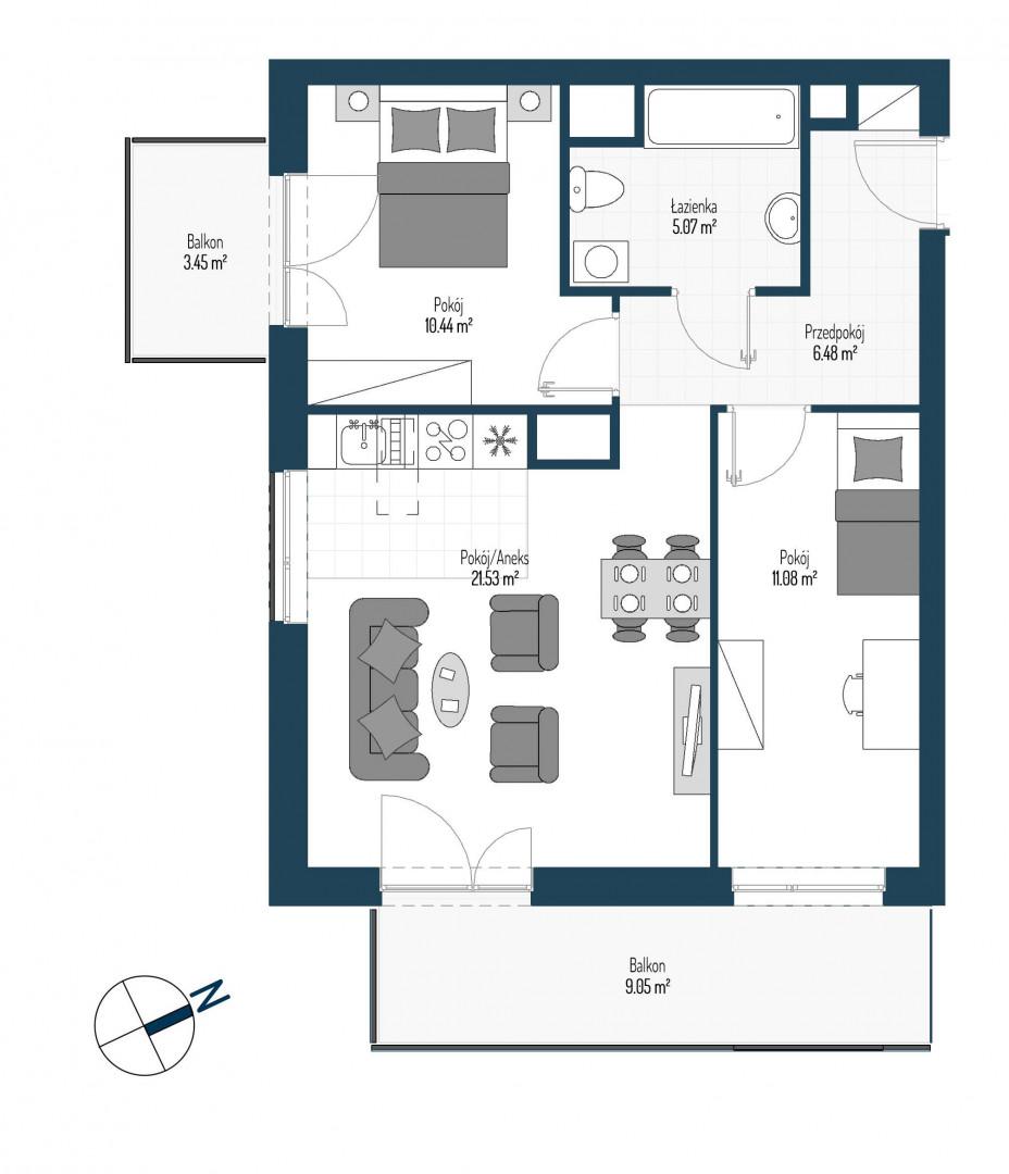Zdrowe Stylove / budynek 2 / mieszkanie nr 6 rzut 1