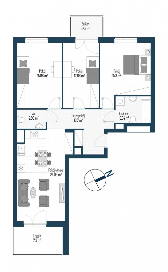Zdrowe Stylove / budynek 2 / mieszkanie nr 42 rzut 1