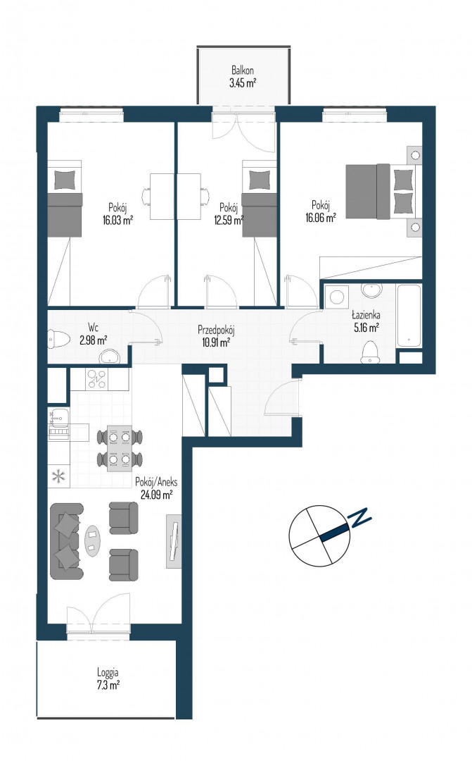 Zdrowe Stylove / budynek 2 / mieszkanie nr 84 rzut 1