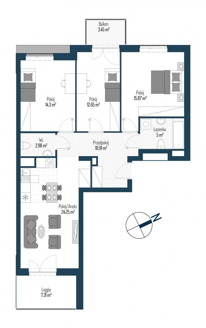 Zdrowe Stylove / budynek 2 / mieszkanie nr 114 rzut 1