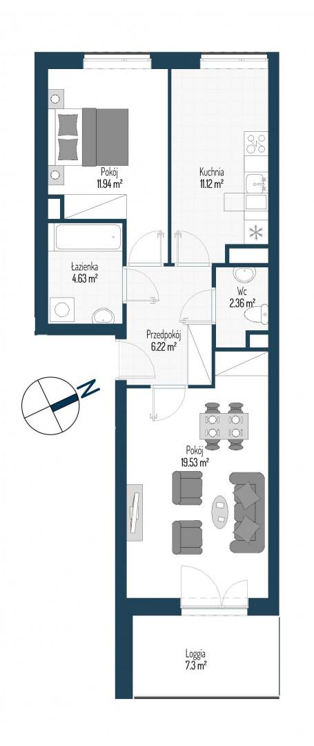 Zdrowe Stylove / budynek 2 / mieszkanie nr 8 rzut 1