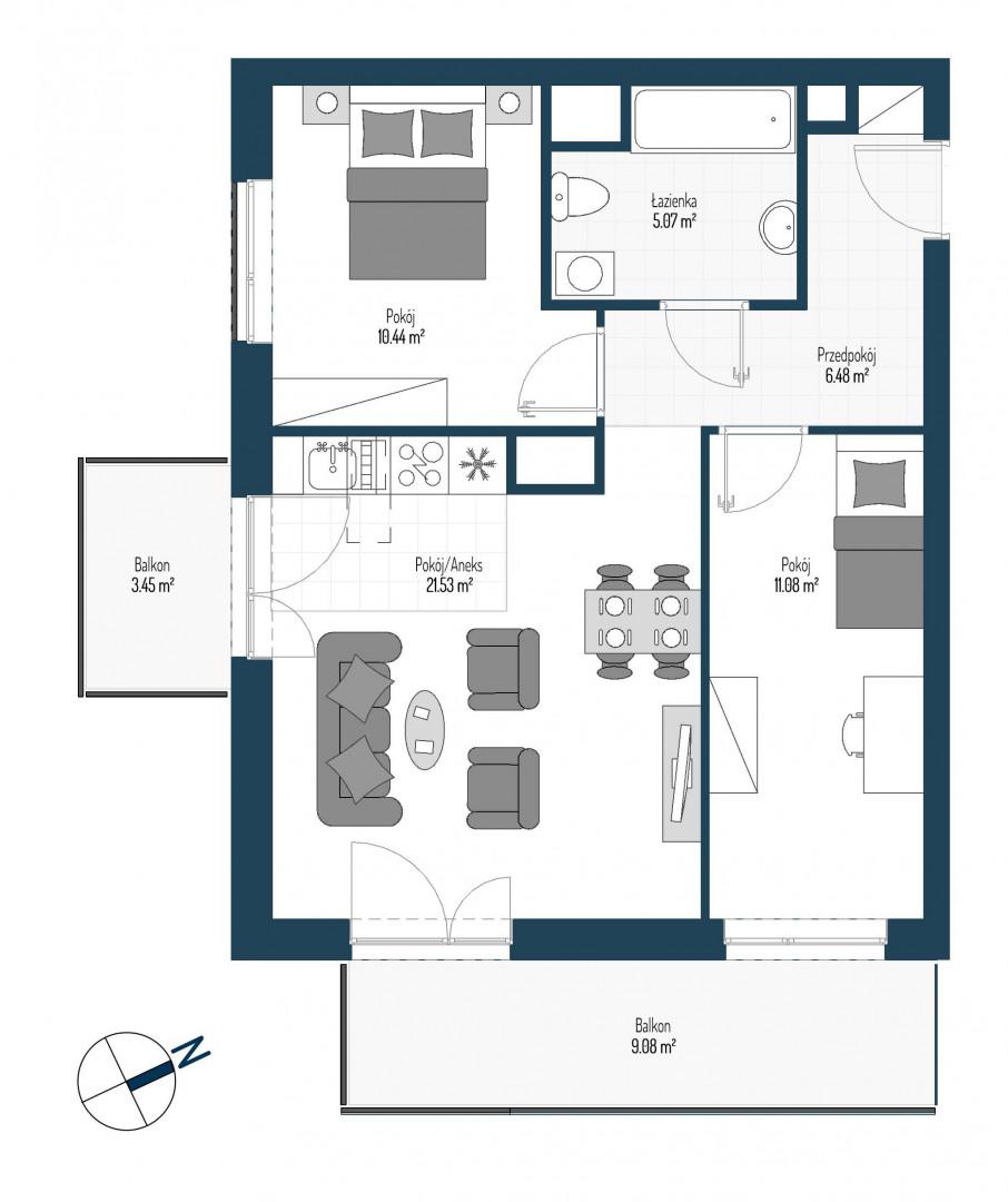 Zdrowe Stylove / budynek 2 / mieszkanie nr 11 rzut 1