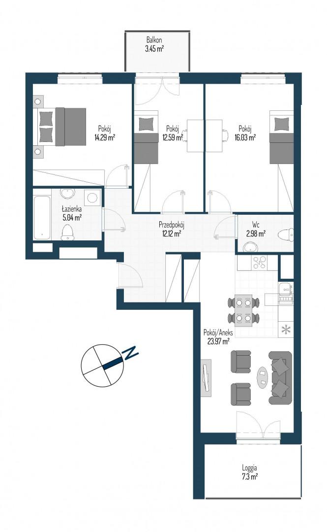 Zdrowe Stylove / budynek 2 / mieszkanie nr 44 rzut 1