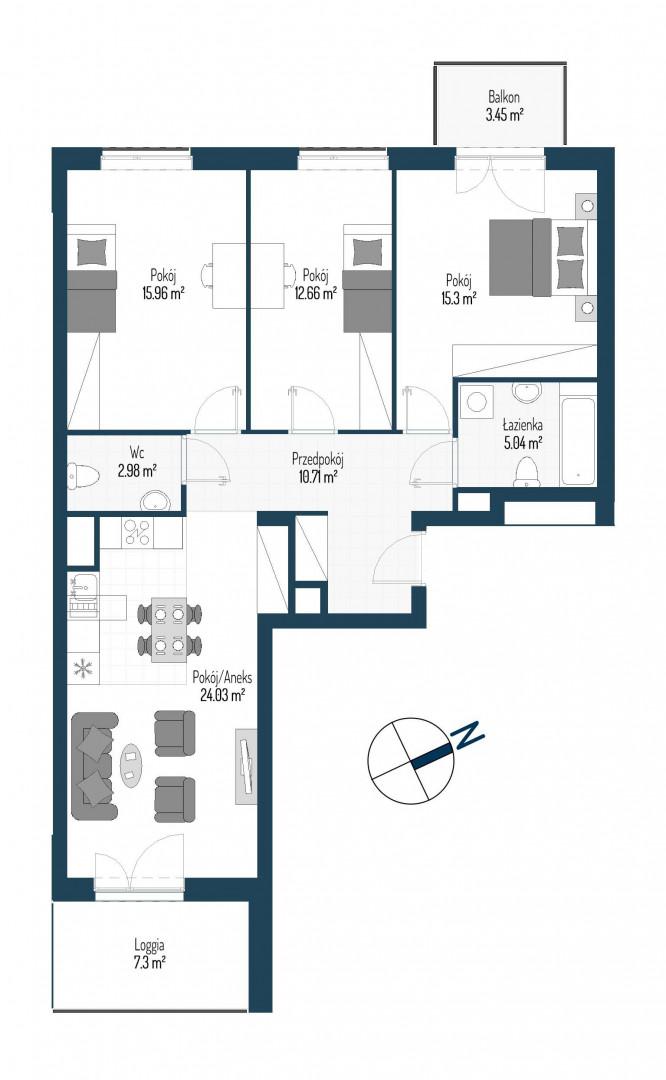 Zdrowe Stylove / budynek 2 / mieszkanie nr 49 rzut 1