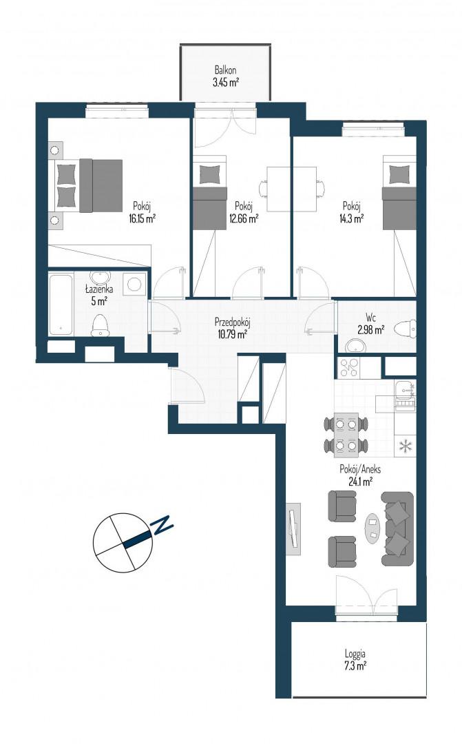 Zdrowe Stylove / budynek 2 / mieszkanie nr 85 rzut 1