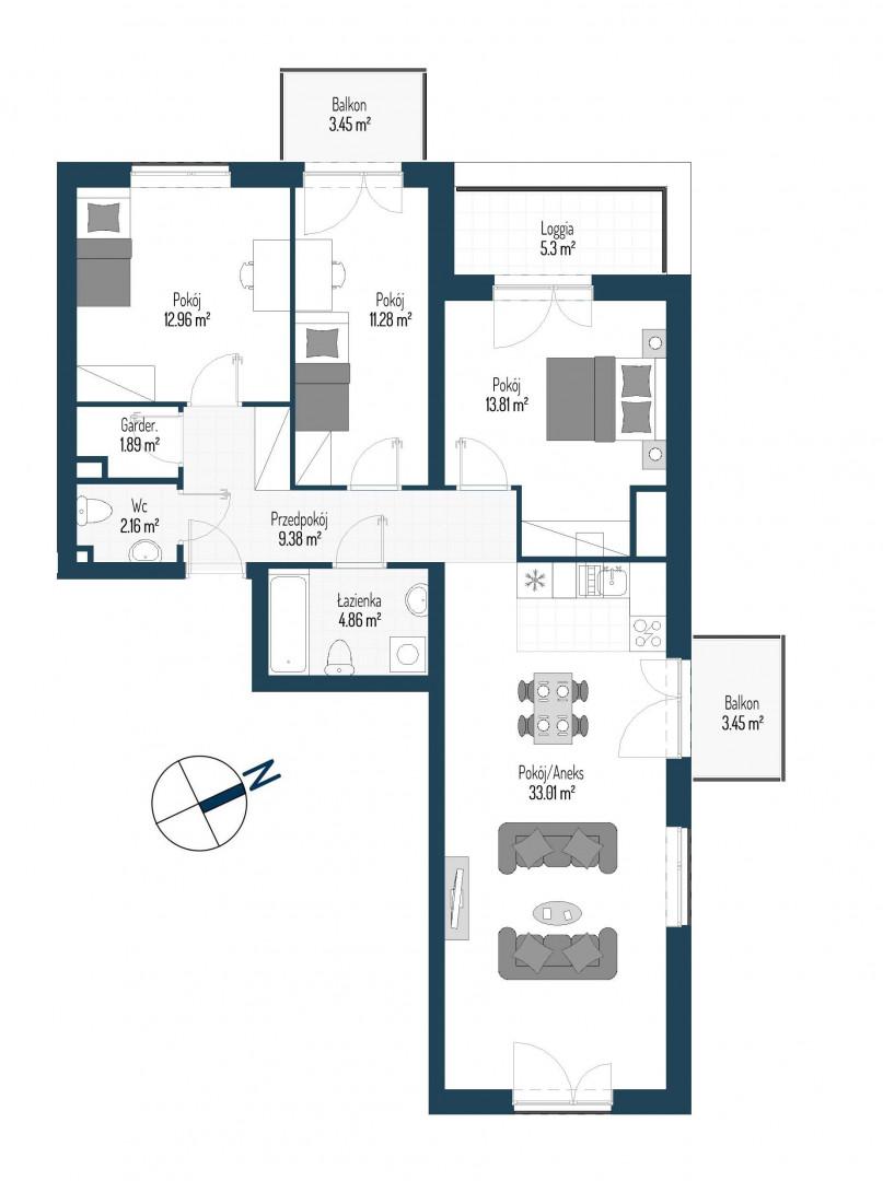 Zdrowe Stylove / budynek 2 / mieszkanie nr 115 rzut 1