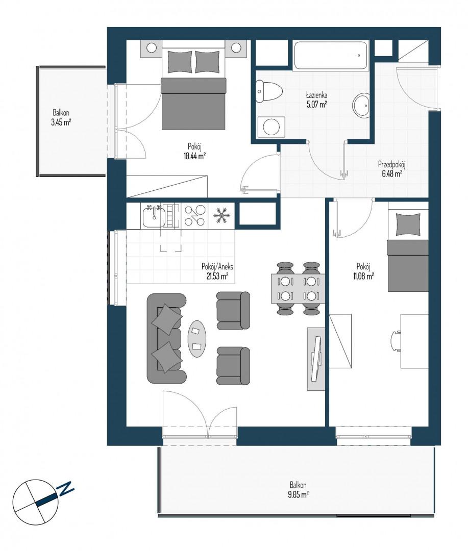Zdrowe Stylove / budynek 2 / mieszkanie nr 16 rzut 1