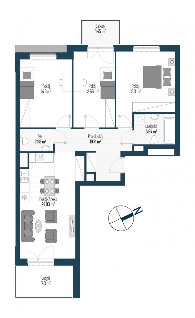 Zdrowe Stylove / budynek 2 / mieszkanie nr 56 rzut 1
