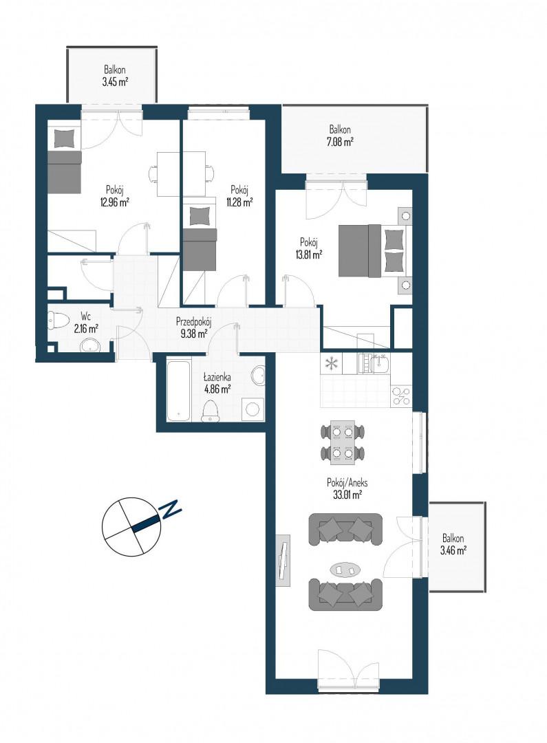 Zdrowe Stylove / budynek 2 / mieszkanie nr 119 rzut 1