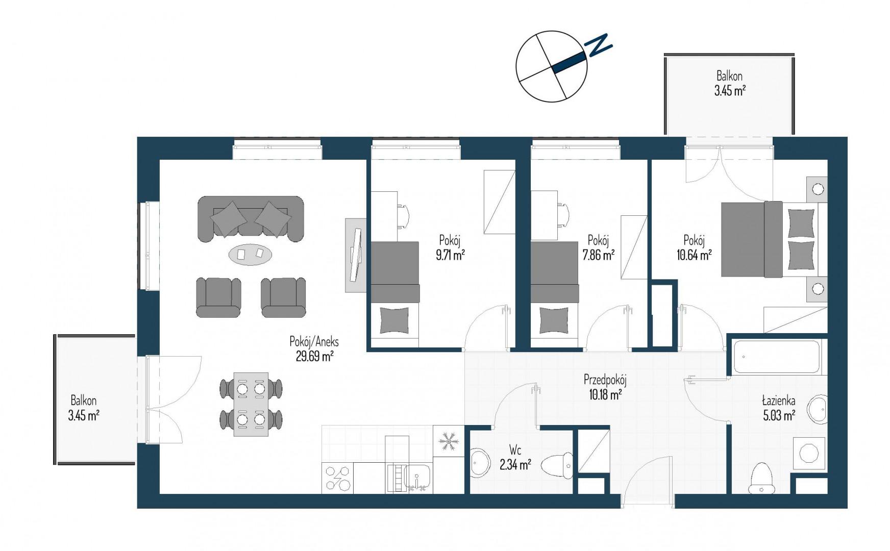 Zdrowe Stylove / budynek 2 / mieszkanie nr 22 rzut 1