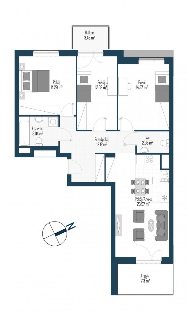 Zdrowe Stylove / budynek 2 / mieszkanie nr 58 rzut 1