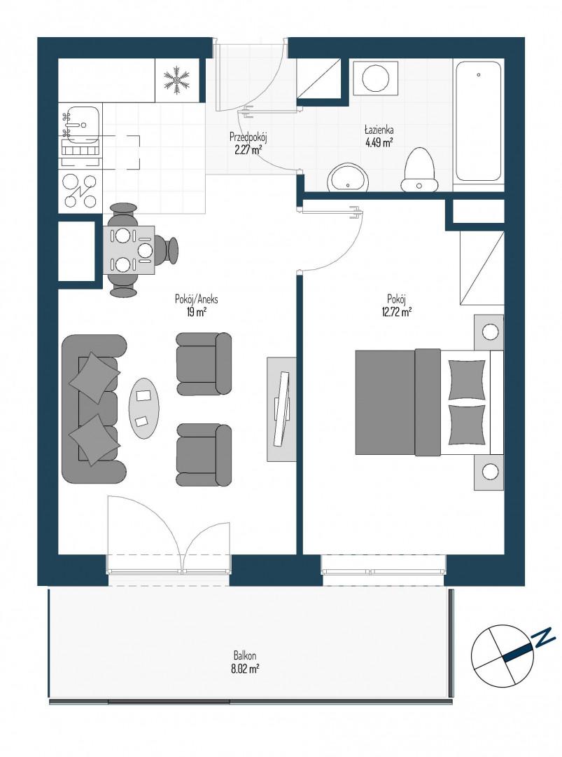 Zdrowe Stylove / budynek 2 / mieszkanie nr 59 rzut 1